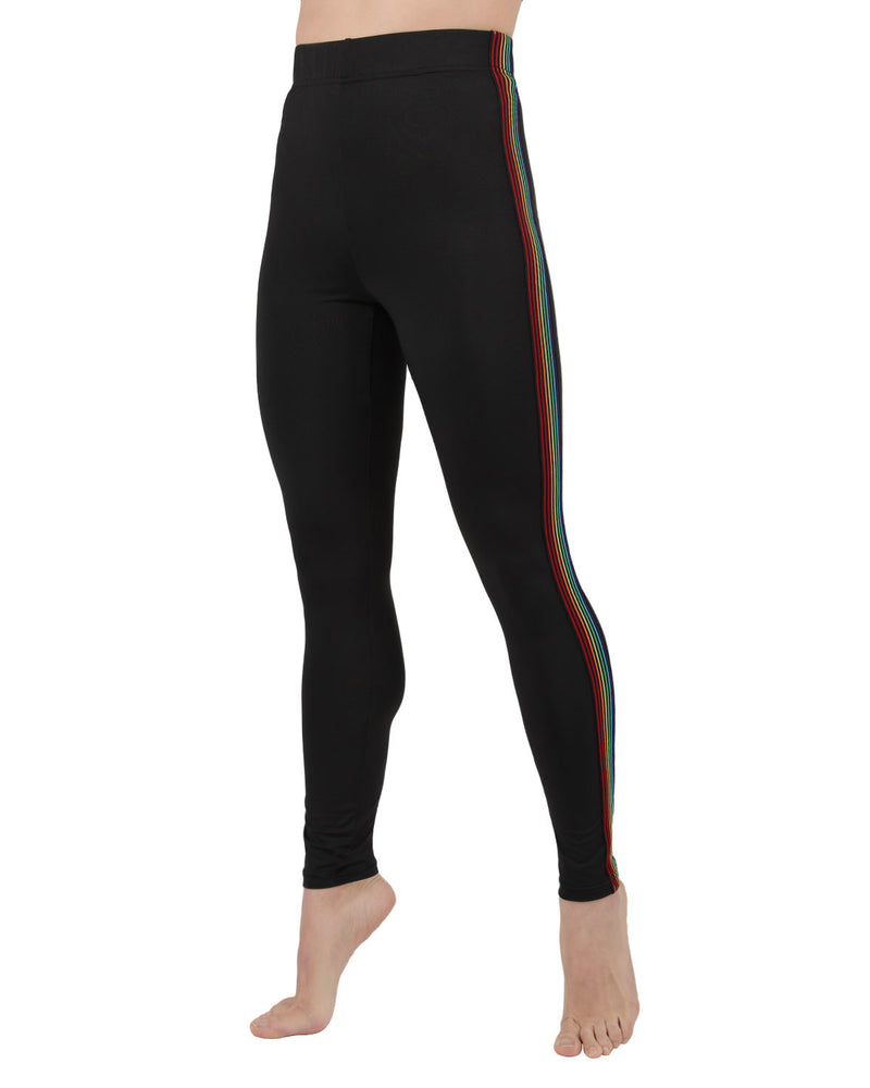 Rainbow Racer Stripe Leggings | Rainbow Clothing | LGBT Pride Month Parade Pants Clothing Merch | LGBTQ Gay Pride | Unisex ZJG05199