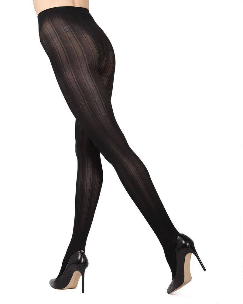 MeMoi Black Mesh Stripe Tights | Women's Hosiery - Pantyhose - Nylons