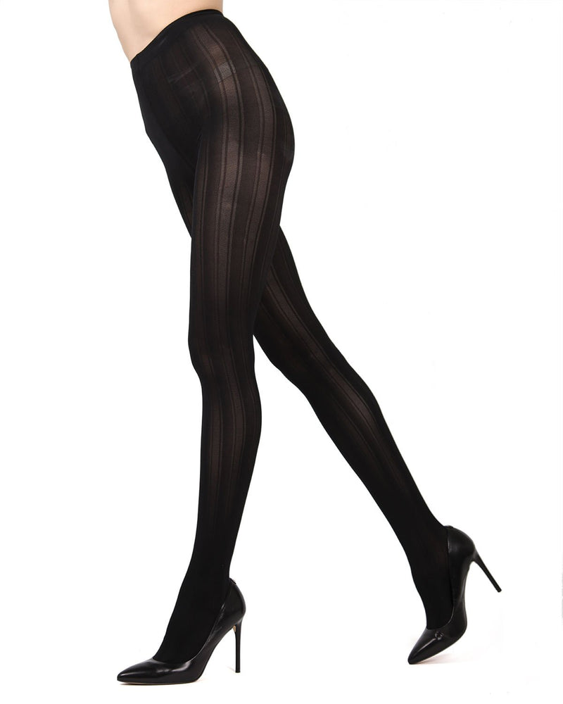 MeMoi Black (2) Mesh Stripe Tights | Women's Hosiery - Pantyhose - Nylons