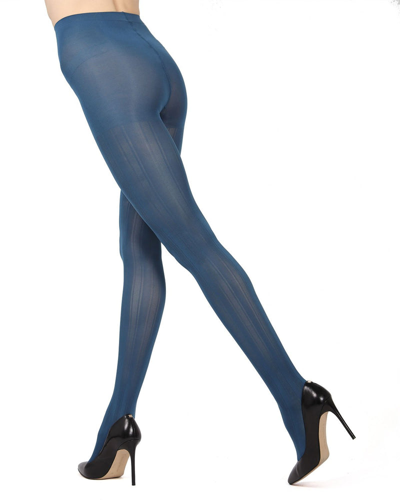 MeMoi Blue Smoke Mesh Stripe Tights | Women's Hosiery - Pantyhose - Nylons