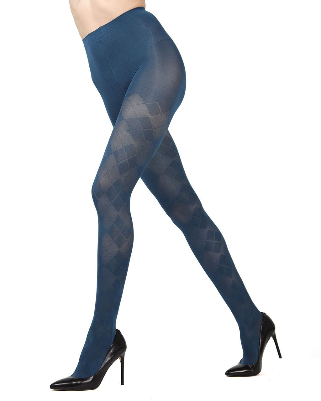 MeMoi Blue Smoke Argyle Opaque Tights | Beautiful Legwear for Women