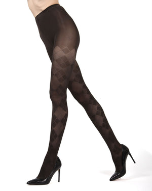 MeMoi Chocolate Chip Argyle Opaque Tights | Beautiful Legwear for Women