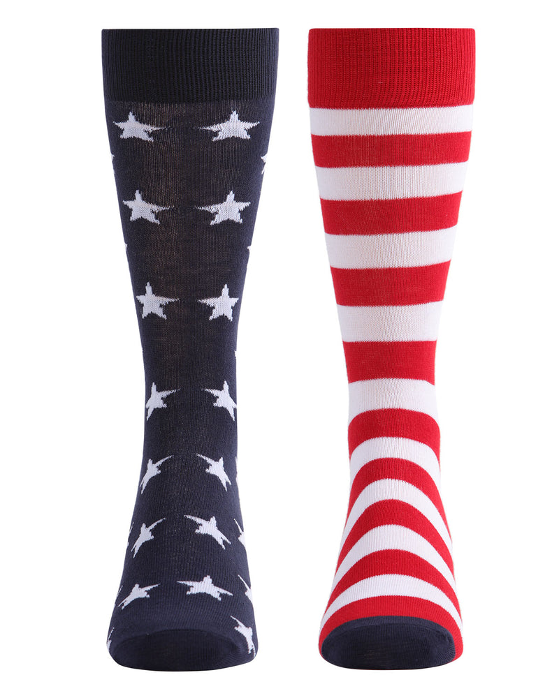 Stars & Stripes Crew Sock | Fun Mens Novilty socks by MeMoi | UCV05535-40120-10-13 -2