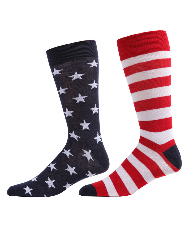 Stars & Stripes Crew Sock | Fun Men's and Women's Novelty socks by MeMoi | UCV05535-40120-10-13 -1