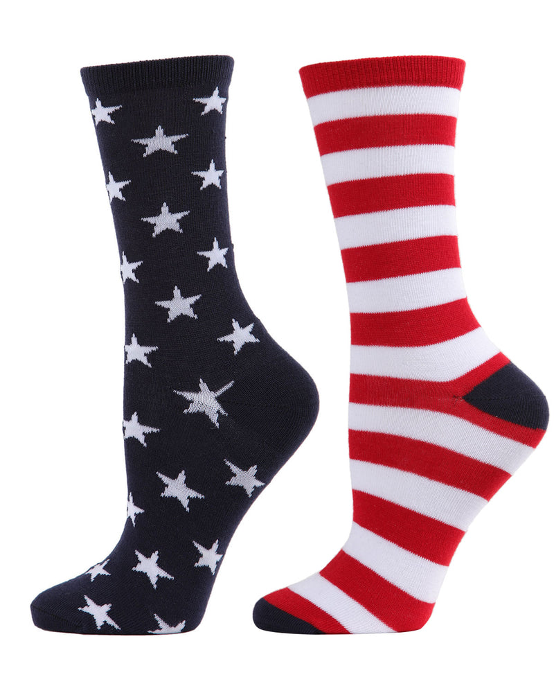 Stars and Stripes Crew Sock | Fun Men's and Women's Novelty socks by MeMoi | UCV05535-40120-9-11 -1