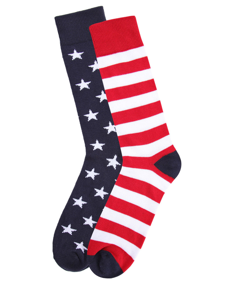 Stars & Stripes Crew Sock | Fun Mens Novilty socks by MeMoi | UCV05535-40120-10-13 -3