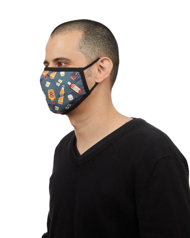 Whiskey Fashion Face Covering Mask | Coronavirus Face Masks by MeMoi | UMH06797 -3