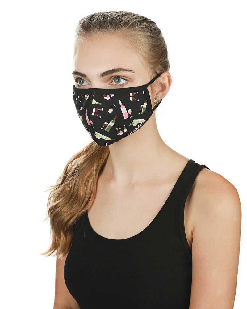 Wine Fashion Face Covering Mask | Coronavirus Face Masks by MeMoi | UMH06800 -3