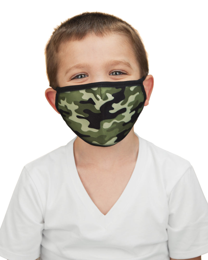 Camo Kids Fashion Face Covering with 5-Layer Filter Inserts