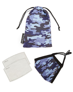 Navy Camo Kids Unisex Face Covering