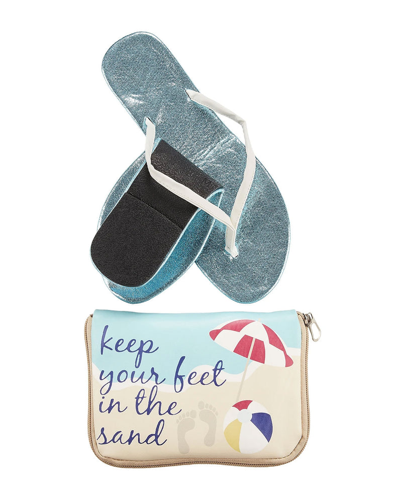 FlipFlats Keep Your Feet in the Sand Foldabale Flats Pouch Set