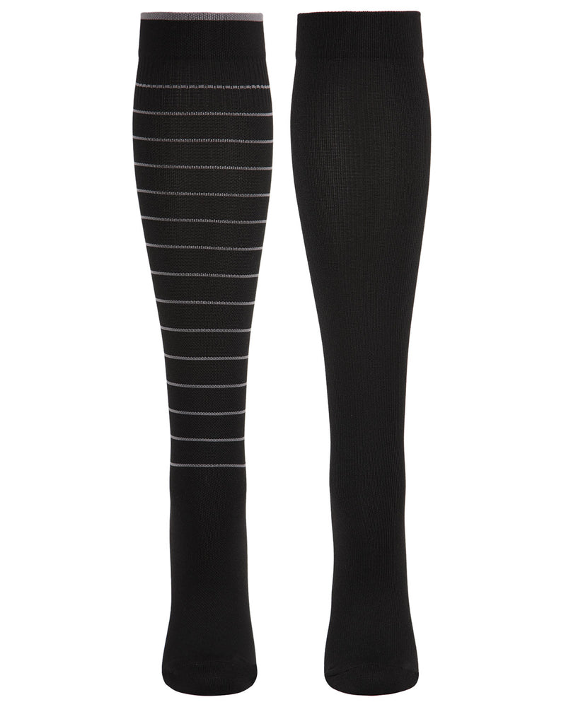 Well Fit Multi Stripe 2 Pair Compression Socks