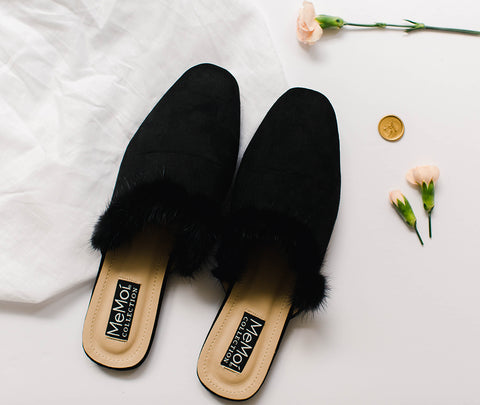 MeMoi Lana Mule Slippers | Women's Hard Sole Luxury Slippers | Black CSL00162