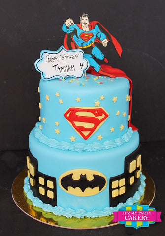 Superman Batman Superhero Cake Milwaukee