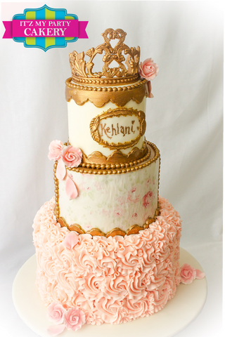 Princess crown birthday cake, princess cake, floral print cakes, roses and rosettes