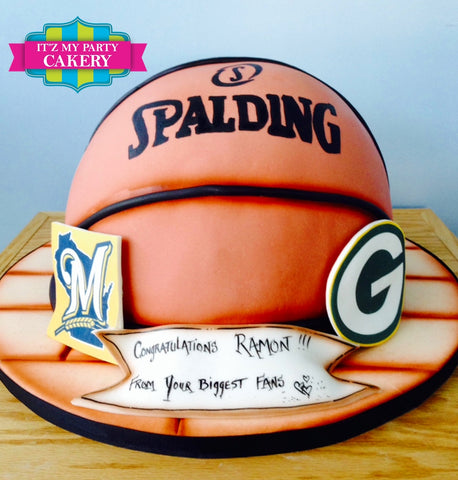 Brewers Packers Basketball Cake