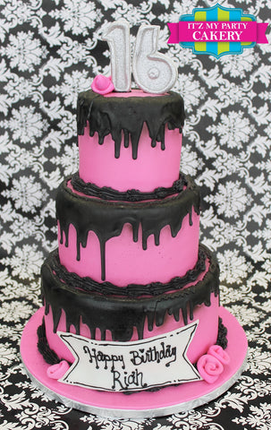 Black Drippy Sweet Sixteen Cake Milwaukee