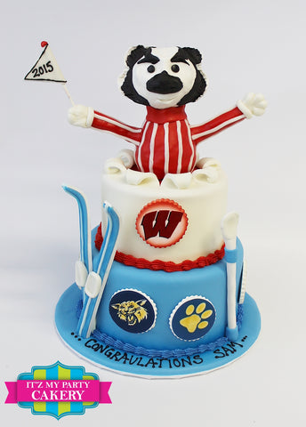 Bucky Badger Ski Graduation Cake Milwaukee