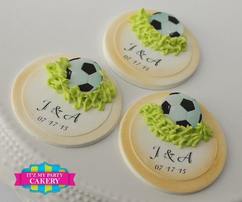 Soccer Ball Wedding Cupcake Toppers