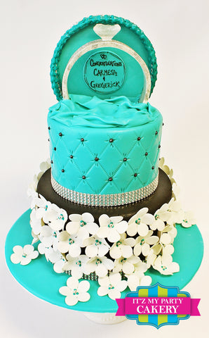 Tiffany Floral Engagement Cake