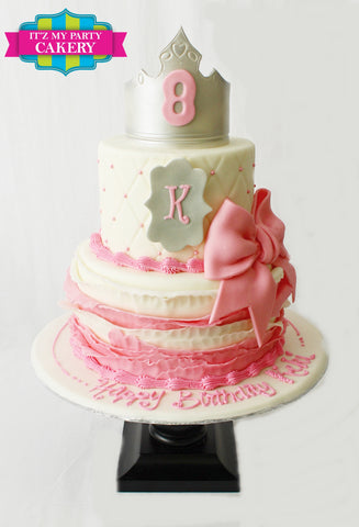 Silver Pink Ruffle Princess Cake Milwaukee
