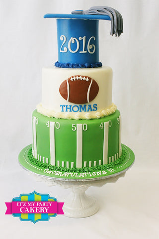 Football Cake, Football Graduation, Graduation Cakes, Football cakes Milwaukee
