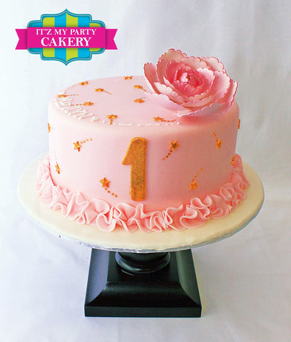 Simple Girl Birthday Cakes, Girly Cakes, Pink gold cakes Milwaukee,