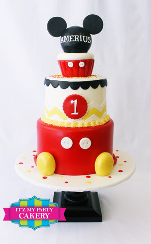 Mickey Mouse Cakes, Mickey Mouse Cakes Milwaukee, First Birthday Cakes for boys, Birthday Cakes Milwaukee