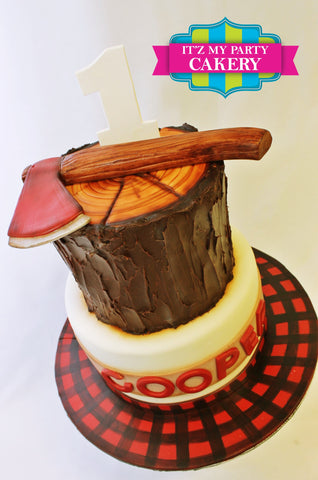 Lumberjack, axe, wood, stump, first birthday, plaid
