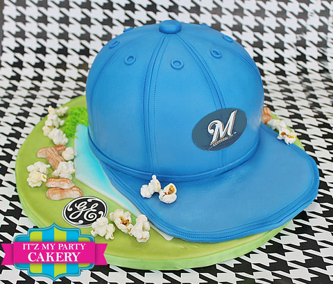 Brewers Base Ball Cap Cake Milwaukee