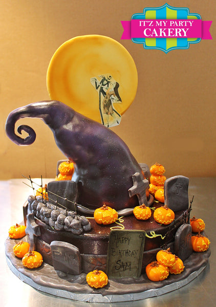 Nightmare Before Christmas Cake with Jack Skellington and Sally pumpkins a graveyard and moon