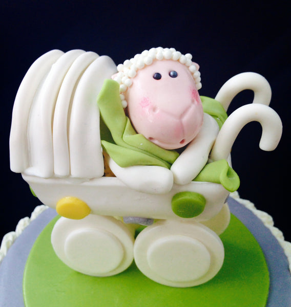 Baby Sheep Baby Carriage Shower Cake