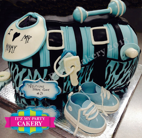Striped Diaper Bag Baby Shower Cake - It'z My Party Cakery