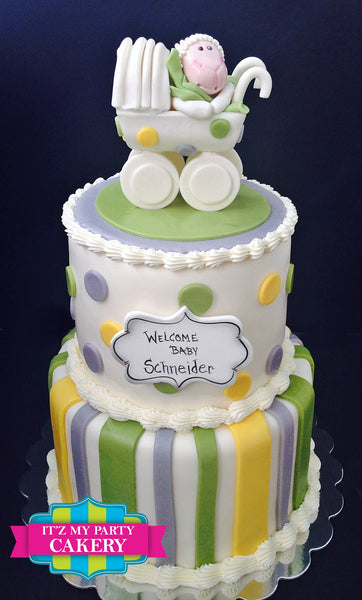 Baby Sheep in a baby carriage on a polka dot and striped tiered cake