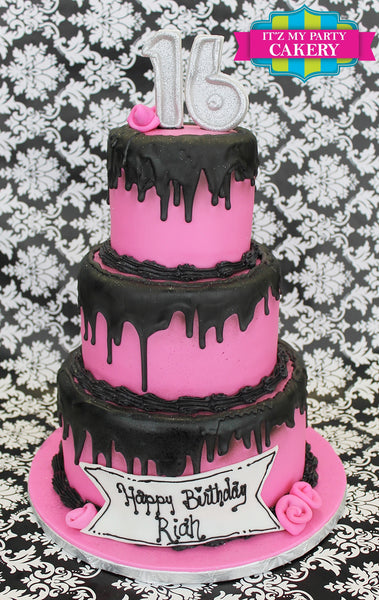 Dripping Pink Cake - It'z My Party Cakery