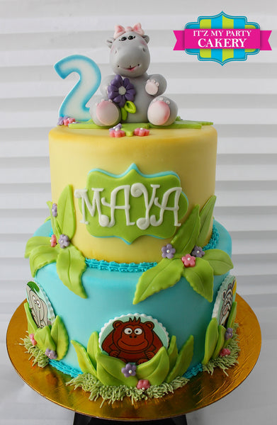 Hippo topper Cake - It'z My Party Cakery