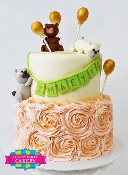 Teddy bears, Balloons and Rosettes Birthday Cake
