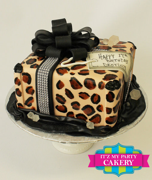 Cheetah Print Present Cake with Black Bow & Bling