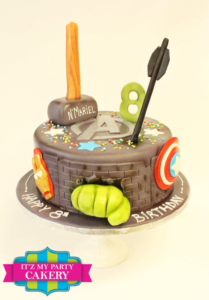 Thor Hammer Arrows Hulk Fist Shield Avengers Cake