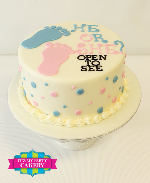 Baby Reveal Cake with polka dots