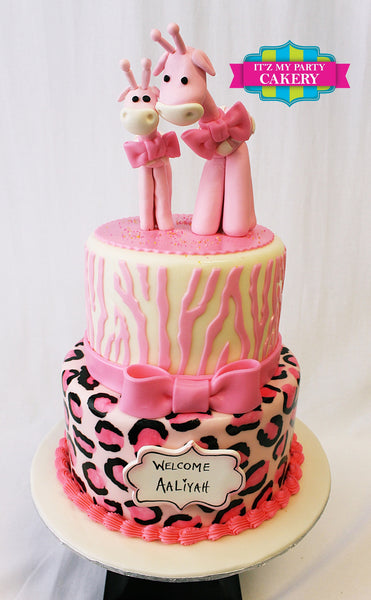 Mama & Baby Pink Giraffe Cake - It'z My Party Cakery