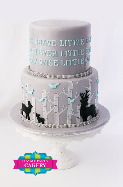 Baby Deer Forest cake surrounded by birch trees and blue birds