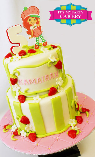 Strawberry Shortcake with Green Stripes and Strawberries made from fondant