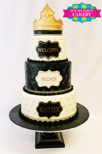 Black & White Tufted Cake with gold sugar bead and a gold crown