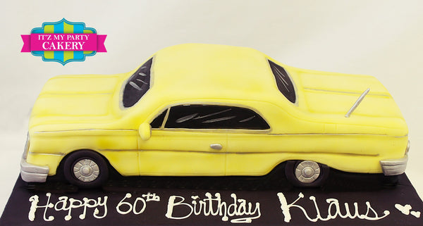 Yellow Muscle Car Cake