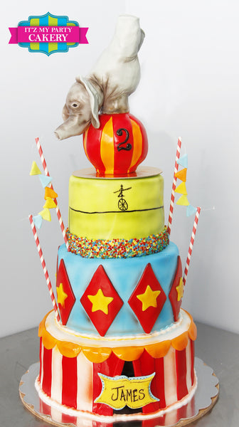 Circus Elephant Cake - It'z My Party Cakery