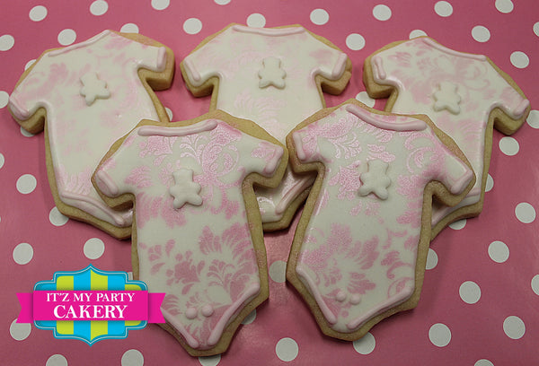 Damask Print Baby Onsie Cookies - It'z My Party Cakery