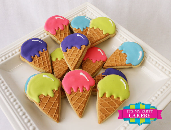 Ice Cream Cone Cookies - It'z My Party Cakery