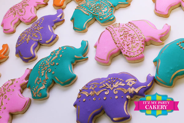 Elephant Moroccan Inspired Cookies - It'z My Party Cakery - 1
