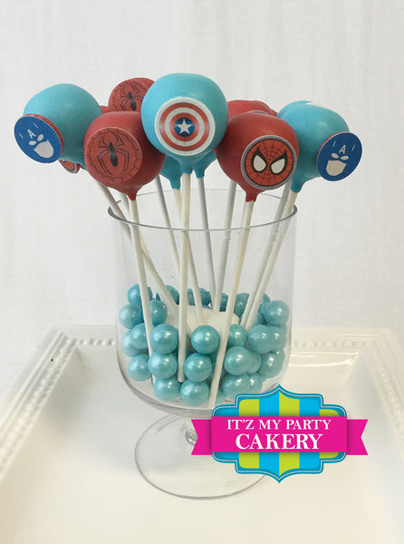 Super Hero Chocolate Button Cake Pops - It'z My Party Cakery